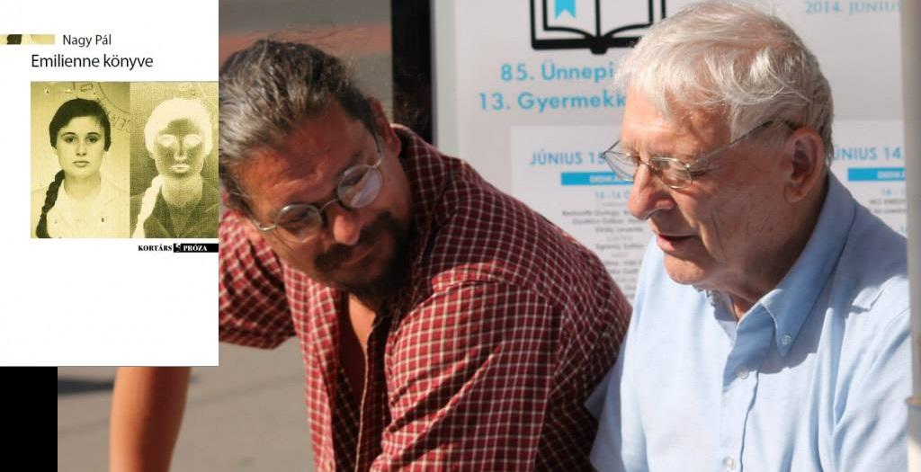 Nagy Pál dedikálja Emilienne könyvét (fotó Írók Boltja)
